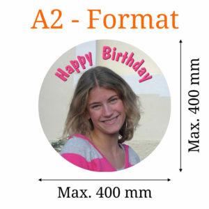Essbares Bild rund A2-Format